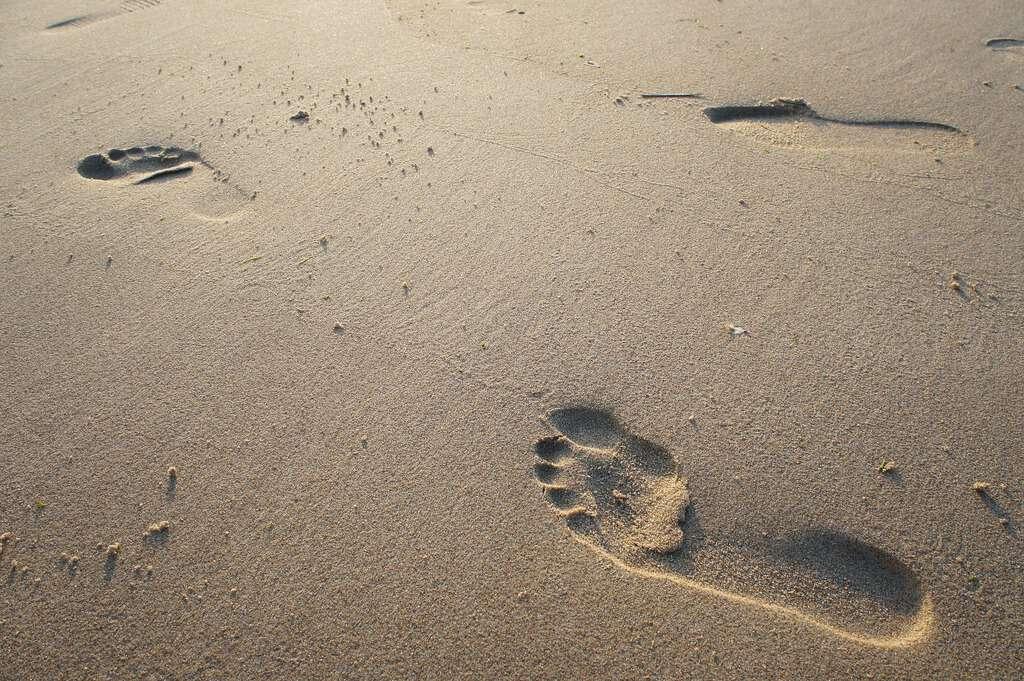 voetstappen zand half uur beweging per dag